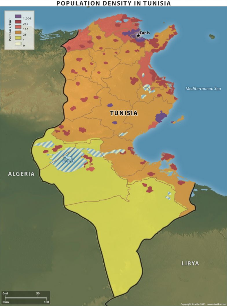 Population Density in Tunisia