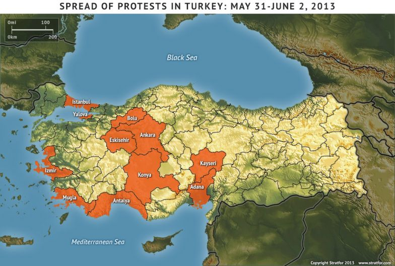 Spread of Protests in Turkey: May 31-June 2, 2013