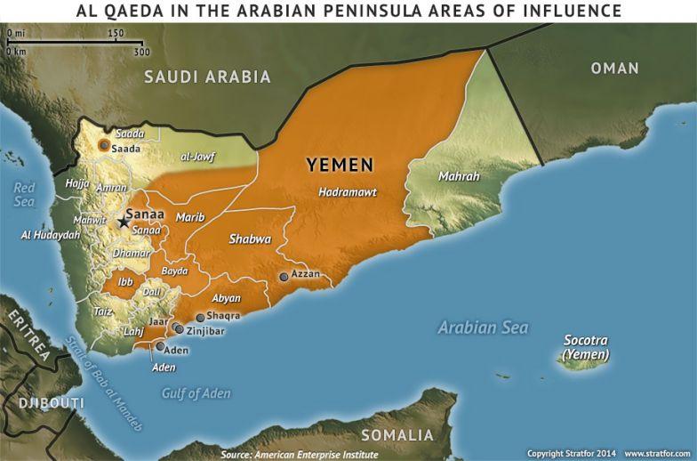 Al Qaeda in the Arabian Peninsula Areas of Influence