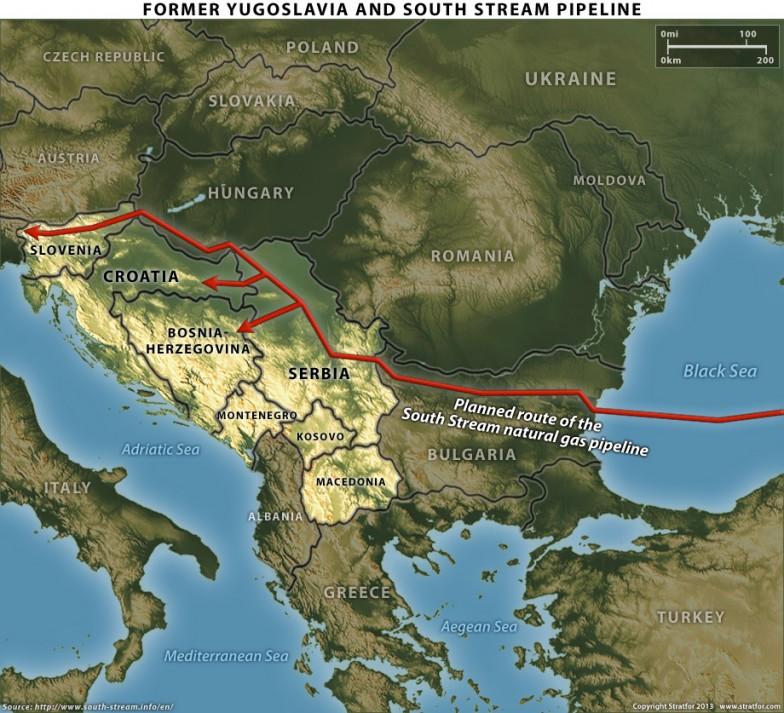 Map - Former Yugoslavia and South Stream