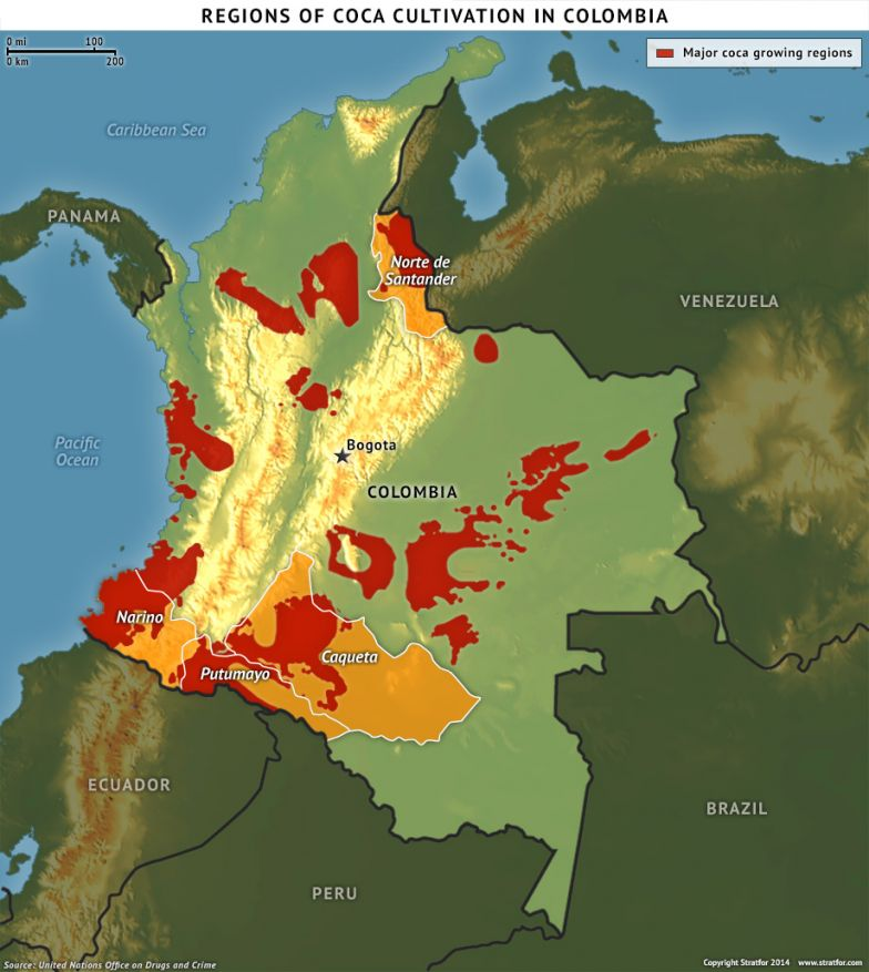 Regions of Coca Cultivation in Colombia