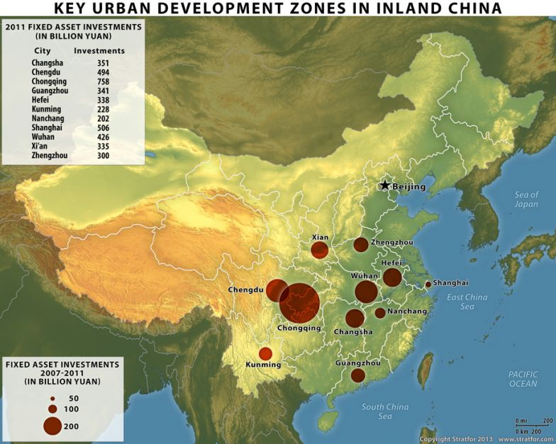 Key Urban Development Zones in Inland China