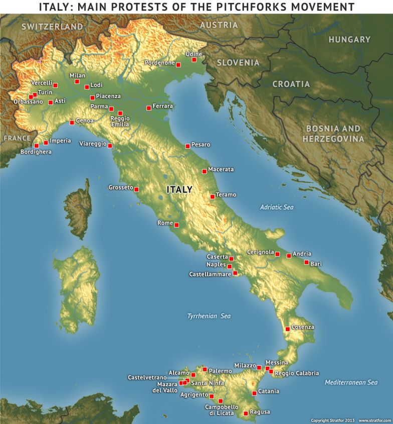 Italy: Main Protests of the Pitchforks Movement