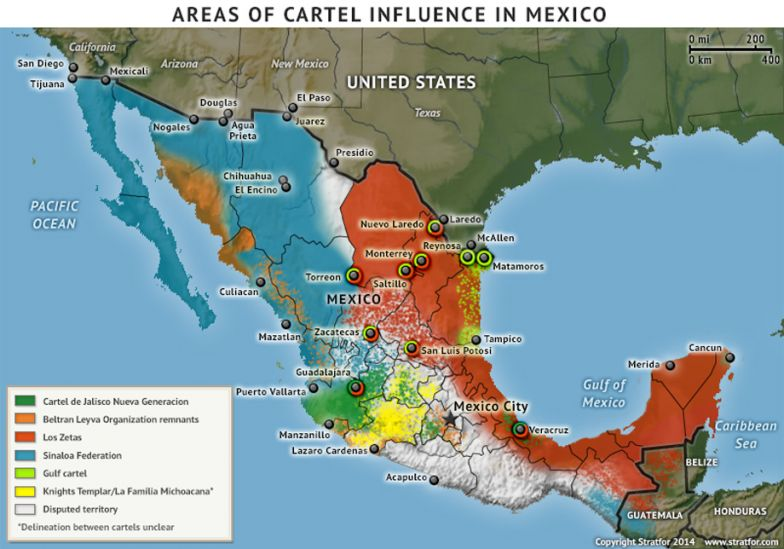 Areas of Cartel Influence in Mexico