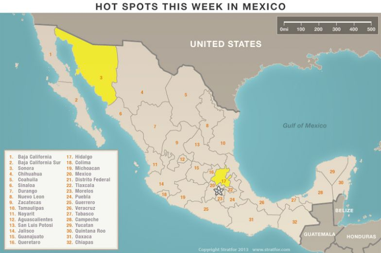 Hot Spots This Week in Mexico map