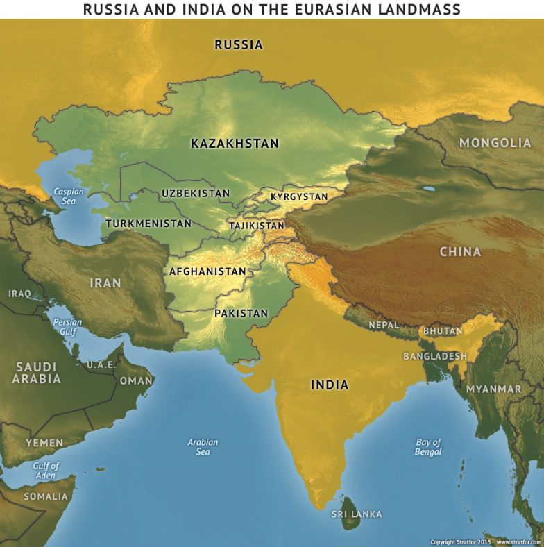 Russia and India on the Eurasian Landmass