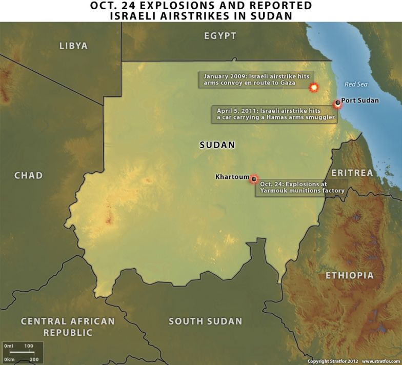 Oct. 24 Explosions and Reported Israeli Airstrikes in Sudan