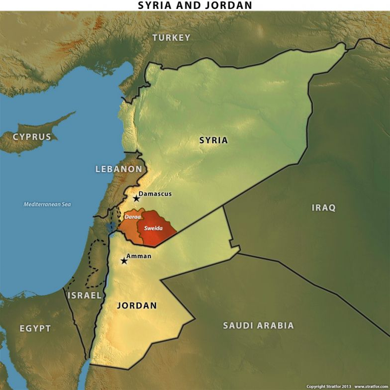 Map of Syria and Jordan