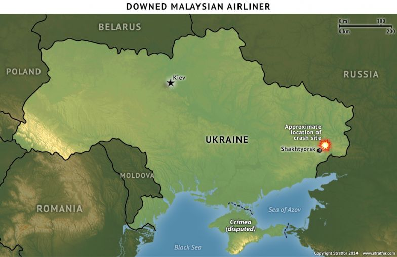 Location of the Downed Plane in Ukraine