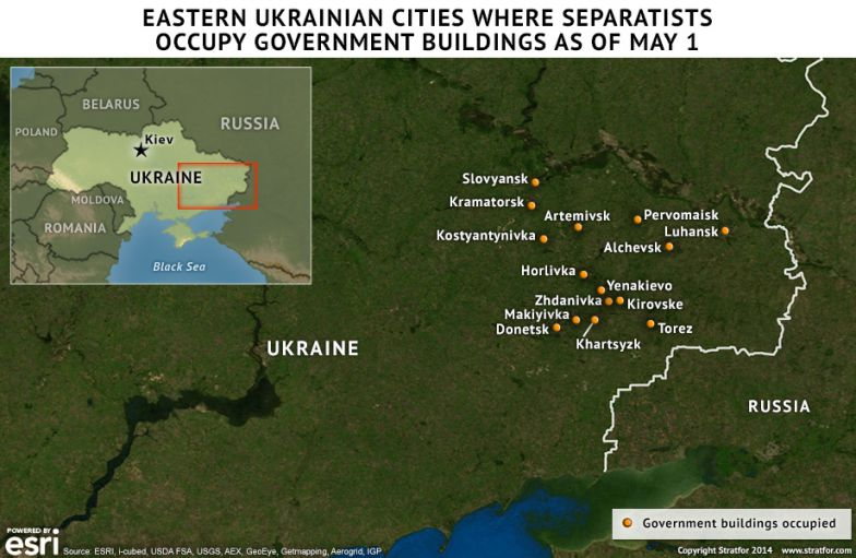 Eastern Ukrainian Cities Where Separatists Occupy Government Buildings As Of May 1