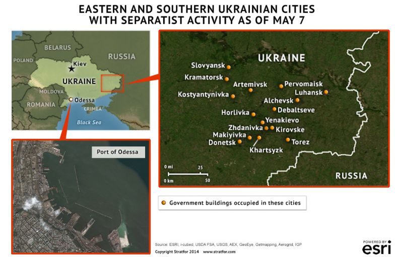 Eastern and Southern Ukrainian Cities With Separatist Activity As Of May 7