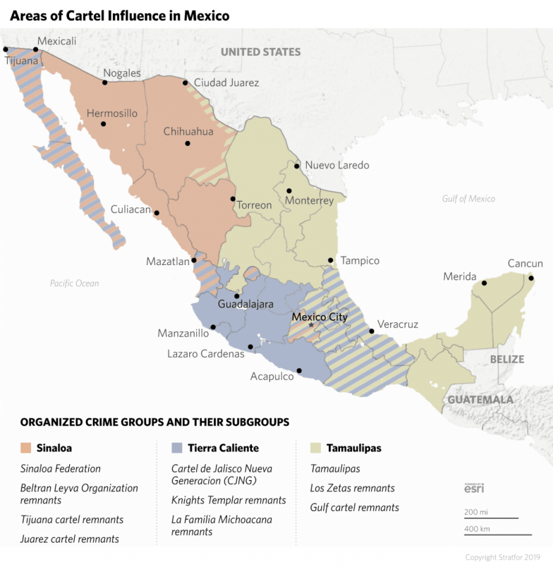 This map shows areas of cartel influence throughout Mexico.