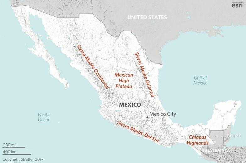 the country is funnel shaped its high plateau anchored in the mountains and jungles of central america to the south the funnel fans and expands northwest