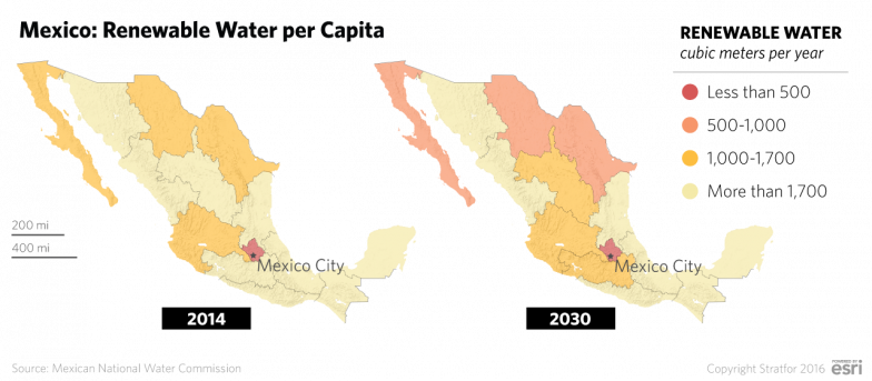 In the southeastern portion of the country -- including in the Balsas, Southern Pacific and Lerma-Santiago-Pacific hydrological administrative regions -- agriculture is the primary industry. The Lerma and the Balsas regions in Mexico's southwest are both classified as high water-stress areas, and threats to the water supply could lead to social unrest as local populations protest actions perceived to threaten the water supply.