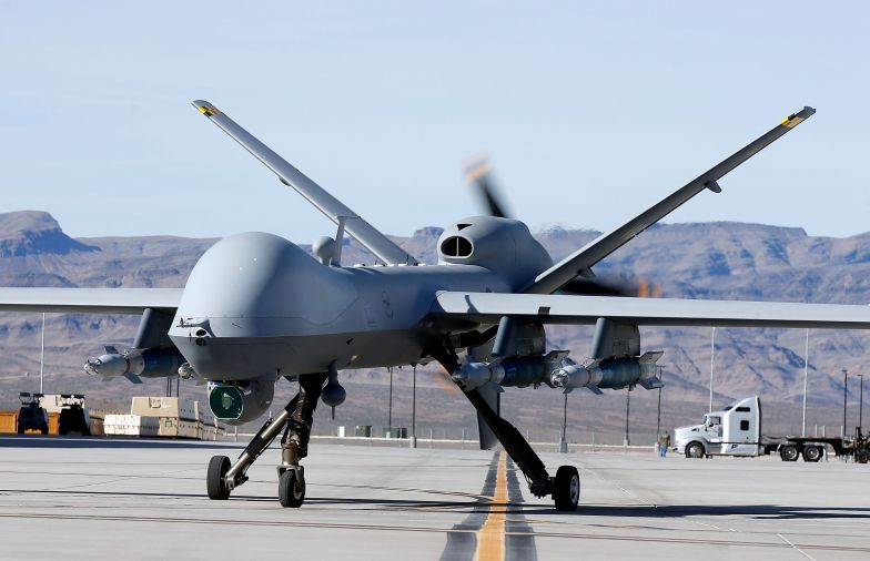 An MQ-9 Reaper remotely piloted aircraft (RPA) taxis during a training mission at Creech Air Force Base on November 17, 2015, in Indian Springs, Nevada.