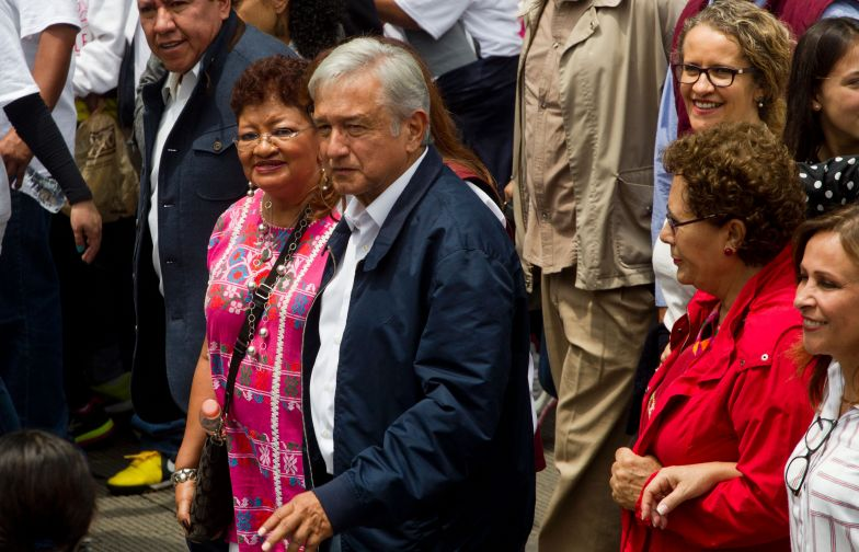 Mexican leader of the National Regeneration Movement, Andres Manuel Lopez Obrador, takes part in a protest in support of the CNTE teachers' union in Mexico City in June, 2016.