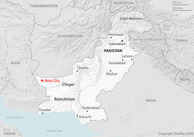This map showing the location of the Reko Diq mine within the rest of Pakistan.