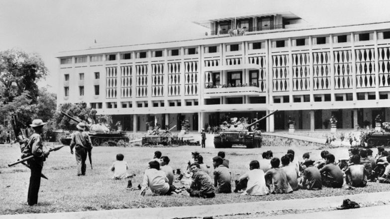 Provisional Revolutionary Government fighters seize control of the presidential palace in Saigon after the fall of the city. May 3, 1975. The fact that the American public deeply opposed the war -- a direct result of Vietnam's murky strategic significance -- further eroded the tenuous support for U.S. operations in Vietnam.