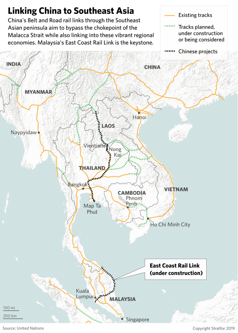 This map provides a look at China's BRI projects in Southeast Asia, especially Malaysia.