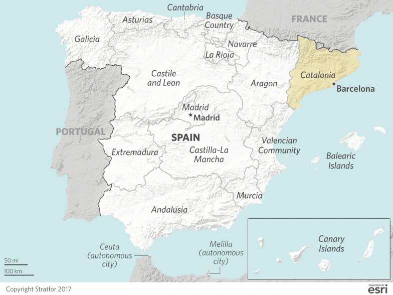 Independence minded catalonia will tread a more cautious path this map shows the regions that constitute spain gumiabroncs Image collections