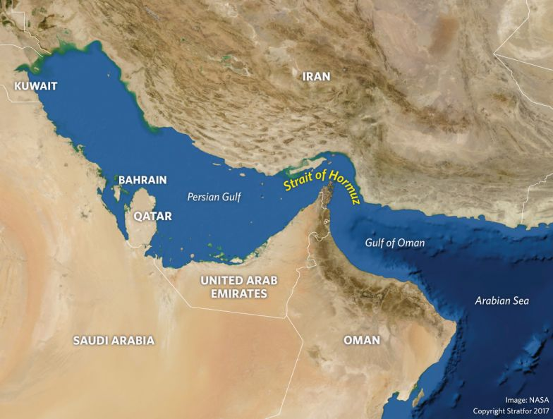 A map showing the Strait of Hormuz