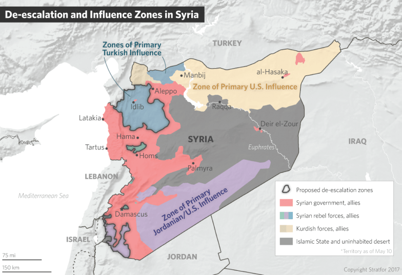 A map of Syria showing de-escalation zones and zones of influence