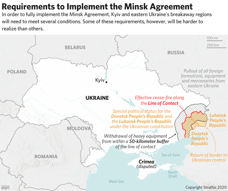 A map explaining the requirements to implement the Minsk agreements.