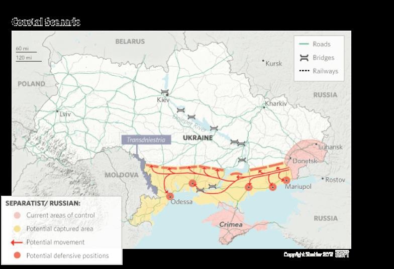 A map showing a coastal invasion scenario, should Russia decide to attack Eastern Ukraine