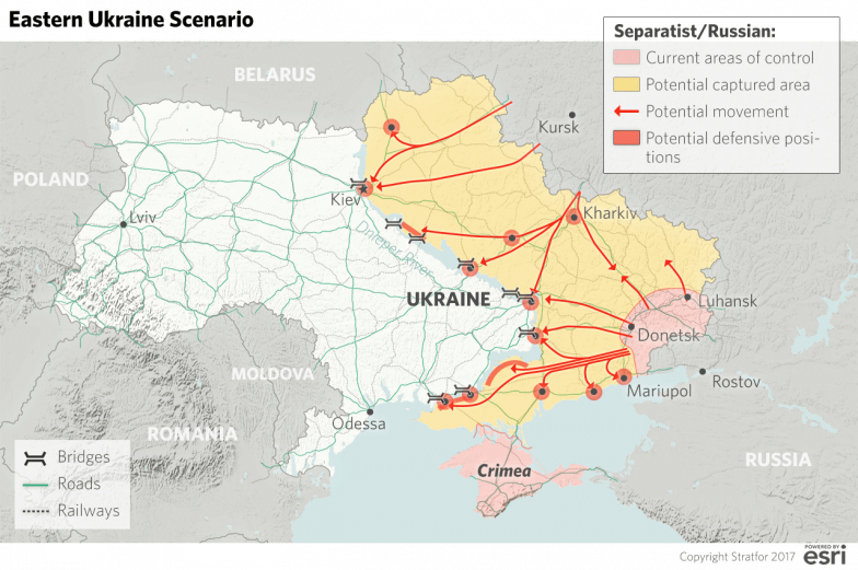 A map showing a scenario whereby Russia takes all of eastern Ukraine up to the Dnieper River, using the waterway as a defensive front line.