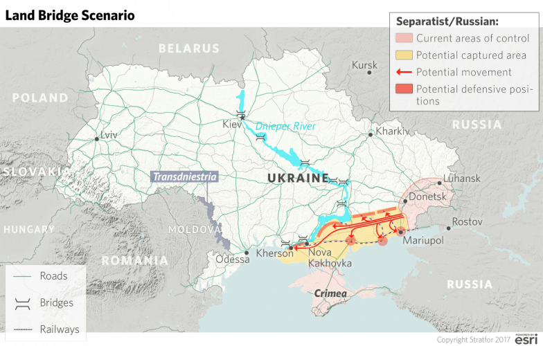 A map showing the 'Land Bridge' attack option should Russia decide to invade Eastern Ukraine
