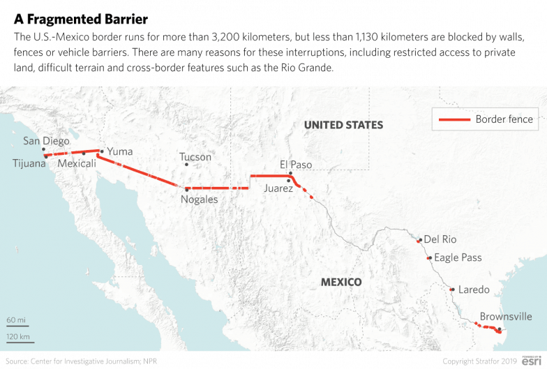 A map showing the barriers currently in place along the U.S.-Mexico border