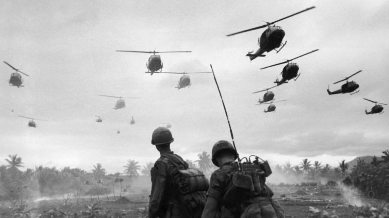 A wave of helicopters from the 1st Air Cavalry Division fly over an isolated landing zone during Operation Pershing, in the region of the Bong Son Plain and An Lao Valley of South Vietnam, Jan. 3, 1967.