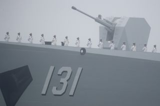 The Type 052D is equipped with a single H/PJ-45 as its primary gun armament.