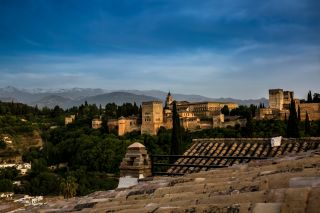 A view of the Alhambra palace and fortress in Granada.