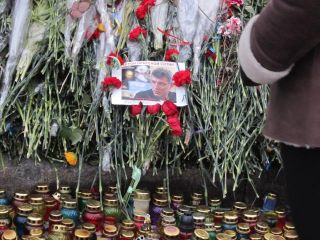 A memorial on Kiev's Institutska Street displays a small picture of Russian opposition activist Boris Nemtsov killed in Moscow on Feb. 27.