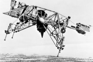 The future lunar module during an experiment at Edwards Air Force Base in California on August 17, 1967.