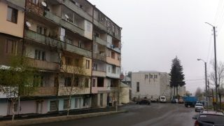 A run-down apartment building in Stepanakert.