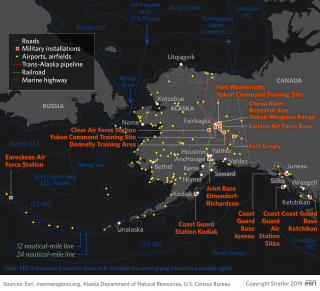 This map shows U.S. military installations in Alaska.