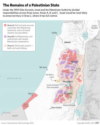 A map showing the different zones of control derived from the Oslo Accords of 1993.