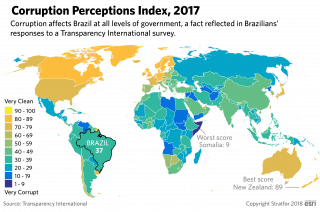 A map showing perceptions of corruption around the world.