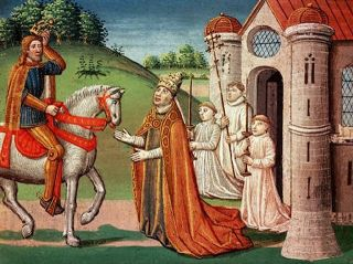 Pope Adrian I and French King Charles