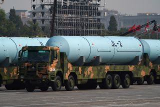 The JL-2 missile system was taken out of its element for public display. It is deployed onboard China's submarine fleet.
