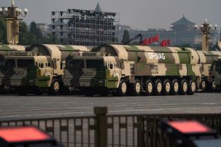 A variant of the DF-31A called the DF-31AG rolls down the streets of Beijing.