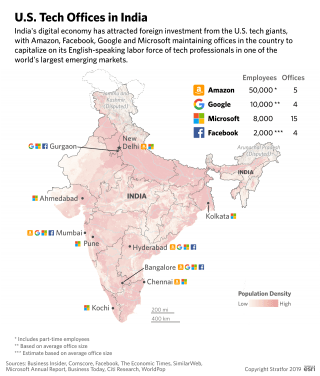 A map of U.S. tech offices in India