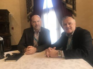 David Priess (L) sits down with Stratfor Chief Security Officer Fred Burton at the Driskill Hotel in Austin, Texas.