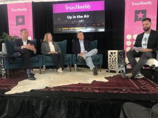 Up in the Air, a panel on space exploration with (from right to left) Texas Monthly Senior Editor Eric Benson, CNN Presidential Historian Douglas Brinkley, former NASA Deputy Administrator Lori Garver and NASA Associate Administrator Thomas Zurbuchen.