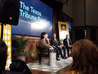 The Gulf With Mexico, a panel on U.S.-Mexico relations with (from left to right) Texas Tribune Immigration Reporter Julian Aguilar, U.S. Representative Henry Cuellar, former U.S. Ambassador to Mexico Antonio Garza and former Mexican Ambassador to China Jorge Guajardo.