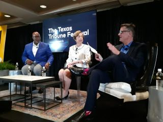 Trade Off, a panel on U.S. trade policy with (from right to left) POLITICO Chief Economic Correspondent Ben White, former U.S. trade representatives Carla Hills and Ron Kirk.