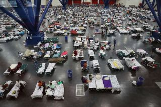 An emergency shelter established at the George R. Brown Convention Center on Aug. 29 after floodwaters from Hurricane Harvey inundated the city of Houston.