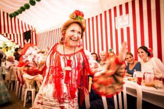 A woman dances to a sevillana during the annual Feria celebrations.